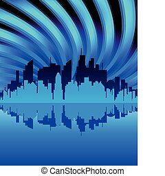 Silhouette Of The City in night. Vector