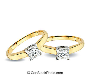 Wedding Rings With Diamonds Vector - Ring with diamonds on...