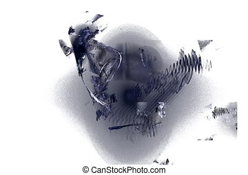 grey feathers and objects, seamless loop animated fractal