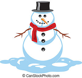 snowman - a snowman standing in the snow