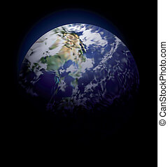 Earth On Black Background. Vector