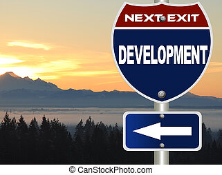 Development road sign