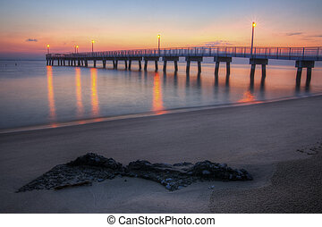 Woodland Beach Fishing Pier Dawn - Sunrise at Woodland Beach...