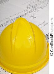 construção, chapéu, planos
