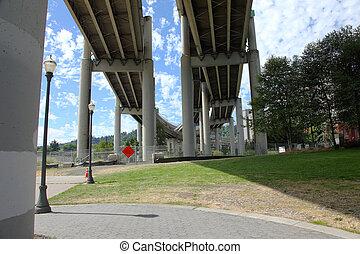 Beneath a freeway in Portland OR.