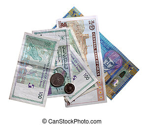 Sultanate of Oman currency isolated over white background