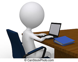 3D business man on his desk with laptop