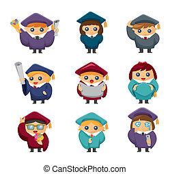 estudiantes, graduado, Conjunto, caricatura, iconos