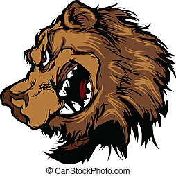 Bear Grizzly Mascot Head Cartoon - Cartoon Mascot Image of a...