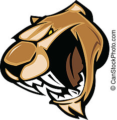 Cougar Mascot Head Graphic - Graphic Mascot Image of a...
