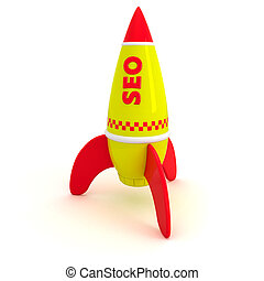 SEO rocket - Red word SEO written on the yellow rocket