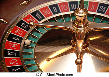 casino roulette ball in the number six