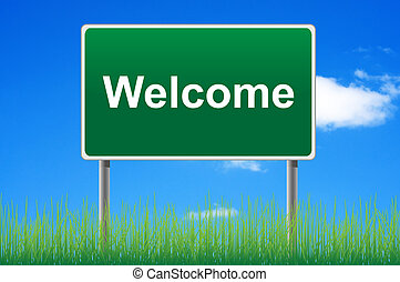 Welcome, concept road sign on sky background.