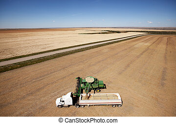 Aerial Harvest on the Prairie - A combine unloading a...