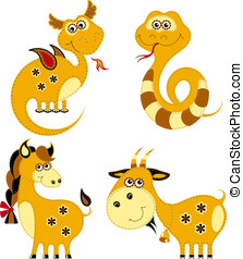 Funny applique chinese horoscope. Dragon, Snake, Horse and...