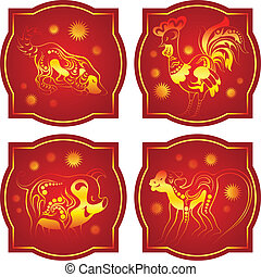 Golden-red chinese horoscope. Monkey, Rooster, Dog and Pig