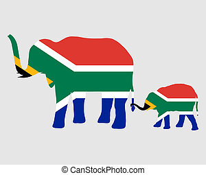 Elephant and baby with flag of south Africa