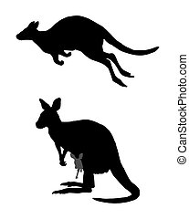 Detailed and isolated illustration of kangaroo jumping