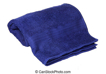 blue towel rolled up on a white background