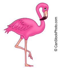 flamingo cartoon illustration for kids.