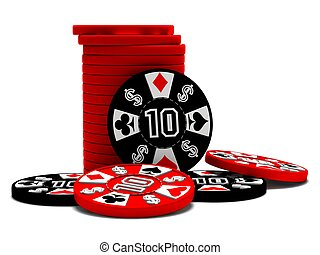 Black and red poker chips - a stack of black and red poker...