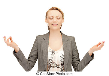 woman in meditation - bright picture of beautiful woman in...