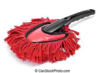 duster - a red duster on a white background