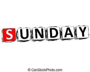 3D Sunday Block Text on white background