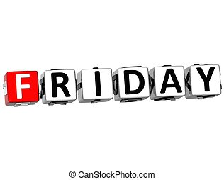 3D Friday Block Text on white background