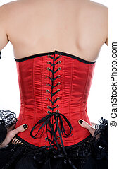 Close-up shot of red corset