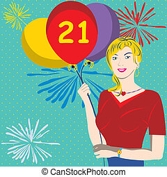 21st Birthday - Vector illustration of a young female...