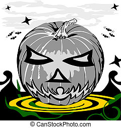 A Pumpkin - Vector illustration of a Halloween pumpkin in...
