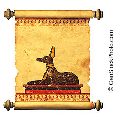 Anubis - Scroll with Egyptian god Anubis image Object over...