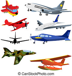 Aeroplane Icons - Vector illustration of 8 different...