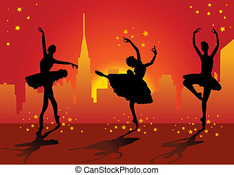 Ballerina Silhouettes - Vector illustration of three ballet...