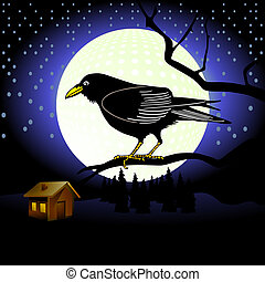 Raven in full moon