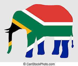 Elephant with flag of south Africa
