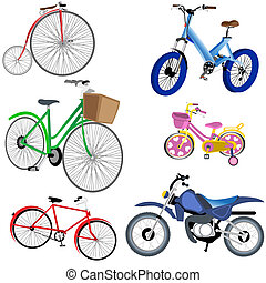 Bicycle And Motorcycle Icons - Vector illustration of...