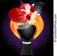 lady's wig in a red heart-shaped hat - on a dark background...