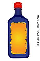 Bottle-blue - Vector illustration of a blue bottle with...