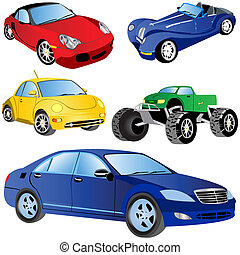 Car Icons Set 2 - Vector illustration of 5 different car...