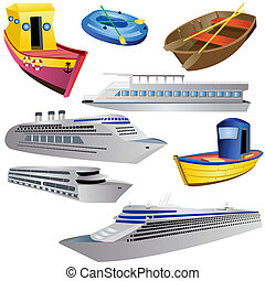 Boat Icon Set - Vector illustration of 8 different boat...