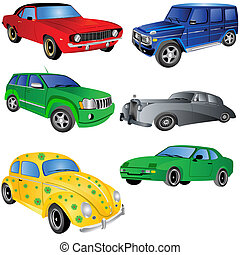 Car ikons set 1 - Vector illustration of 6 different car...