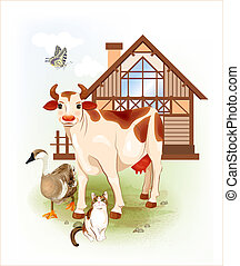 Country life.  Farm animals. Cow, cat and goose.