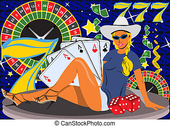 Casino Girl - Abstract vector illustration of a young female...
