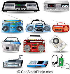 Cassette Player Icons - Vector Illustration of ten cassette...