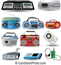 Cassette Player Icons - Vector Illustration of ten cassette...
