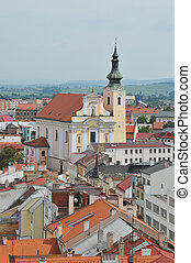 Town of Kromeriz - View at the church in Kromeriz in the...
