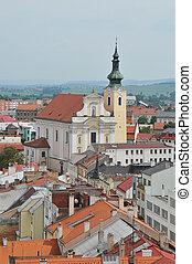 Town of Kromeriz - View at the church in Kromeriz in the...