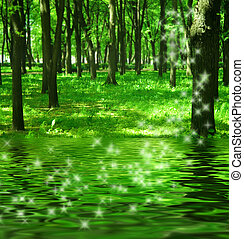 magi, skog, flod